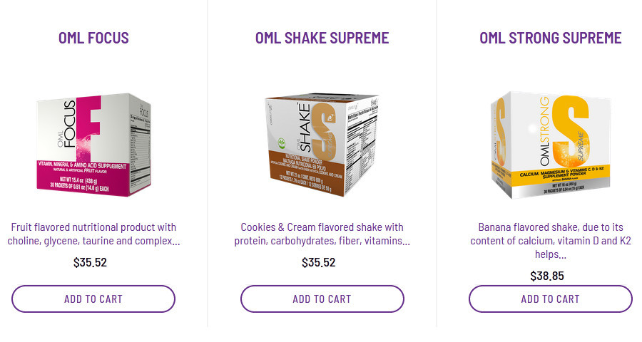3 Omnilife Mexico products likeOMLfocus, OMLshake supreme and OML strong supreme for the omnilife products