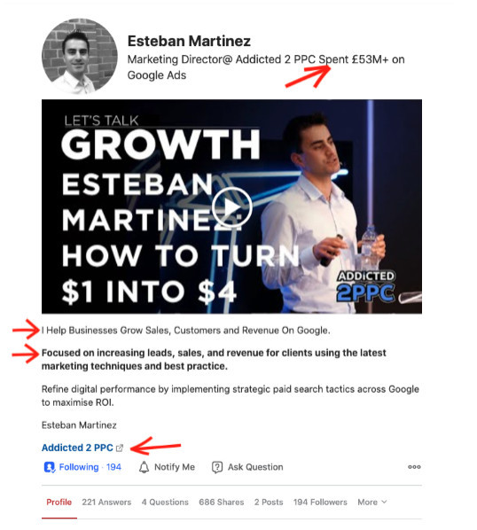 Quora Here is an example of a great profile by Esteban Martinez (marketing director at Addicted 2 PPC).