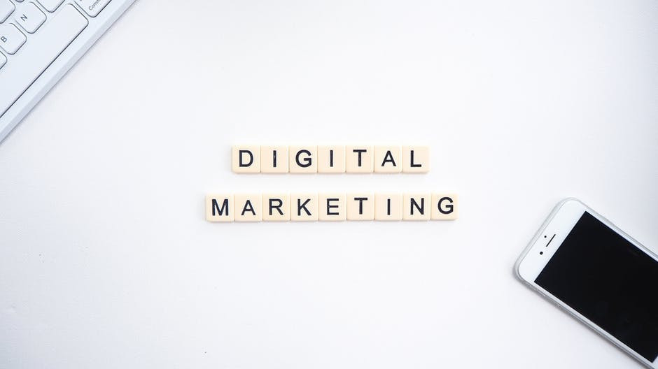 DIGITAL MARKETING written in black characters on a white background