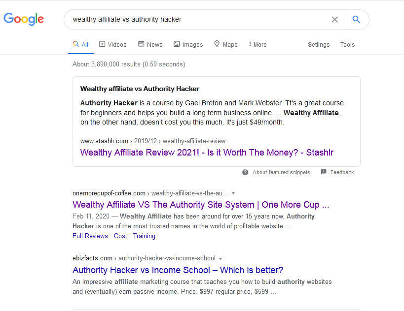 wealthy affiliate vs Authority Hacker on Google SERP