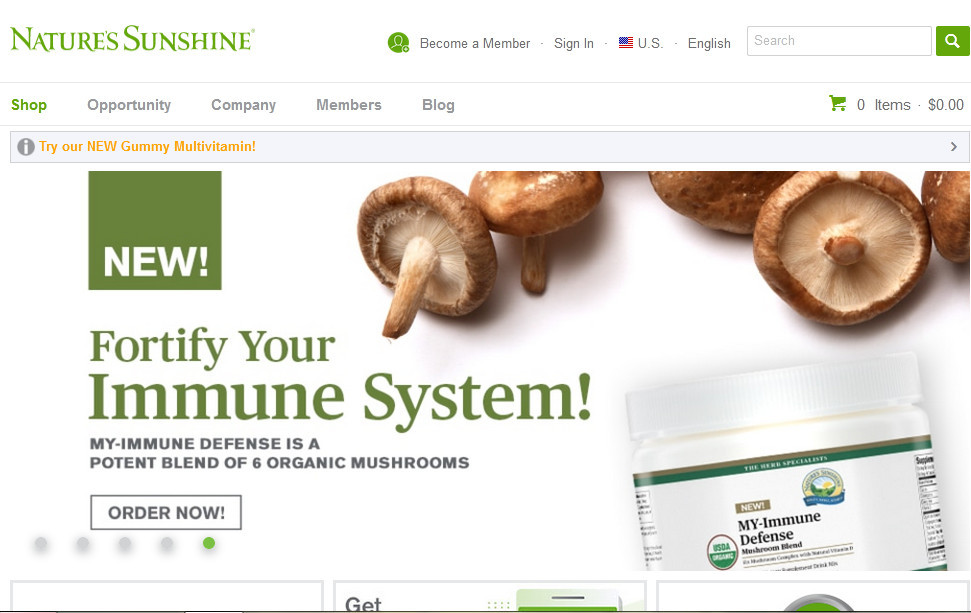 Nature's sunshine products with words 'New! Fortify your immune system!'