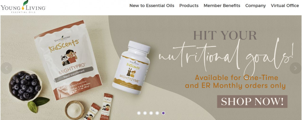 Young Living official website homepage showing packages of products and words 'Hit your nutritional goals!'