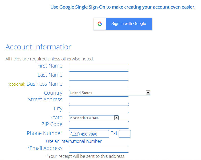 Bluehost domain buying account information