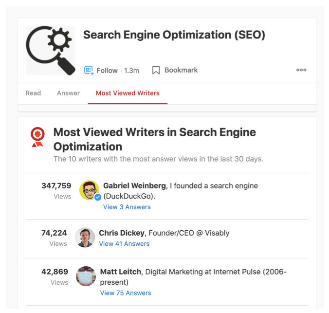 Number of people following Search Engine Optimization SEO topic on Quora