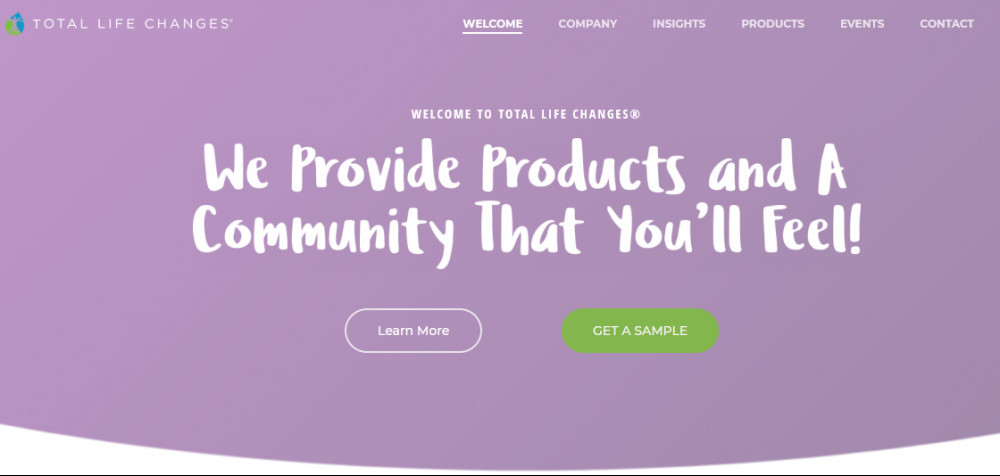 Total Life Changes official website homepage showing words 'We provide products and a community that yoi'll feel!'