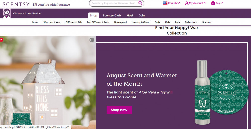 Scentsy products with words 'August scent and warmer of the month'