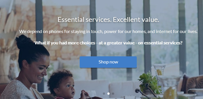Smiling woman with baby with words 'We depend on phones for staying in touch, power for our homes, and internet for our lives. What if you had more choices - at a greater value - on essential services?' to signify acn review