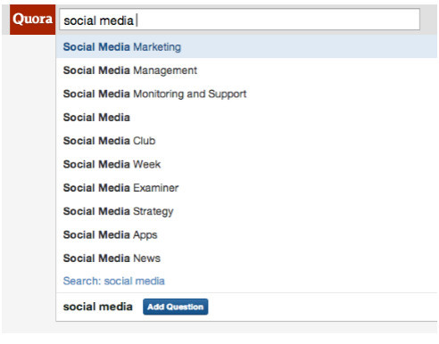 SocialExaminer's search on Quora for social media