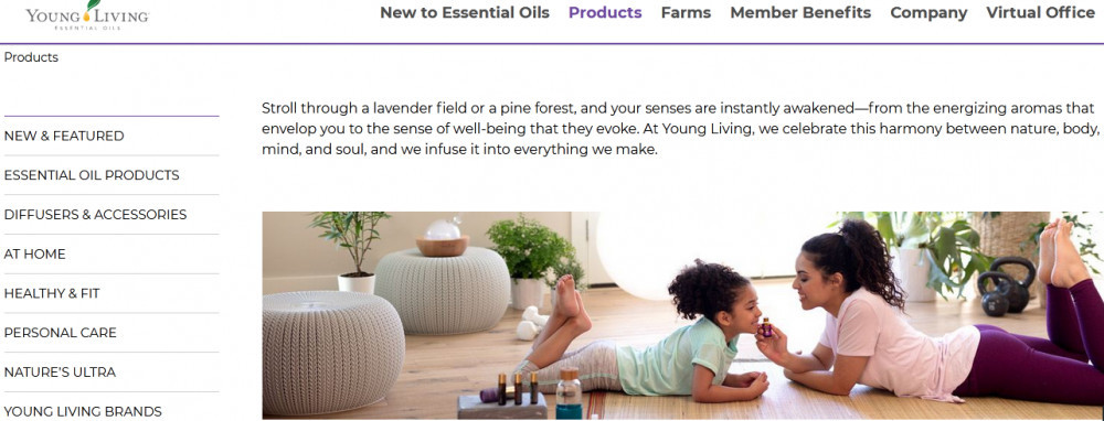 Young Living products showing a mother and child sprawled on the floor