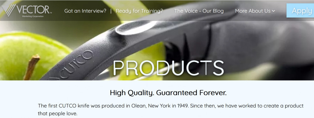 Cutco cutlery products with words 'High quality, guaranteed forever'