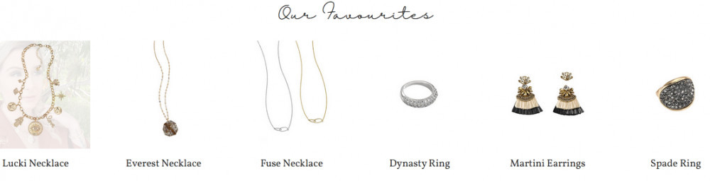 Jewels byPark Lane producs showing 'our favourites of necklace, earrings, rings, etc