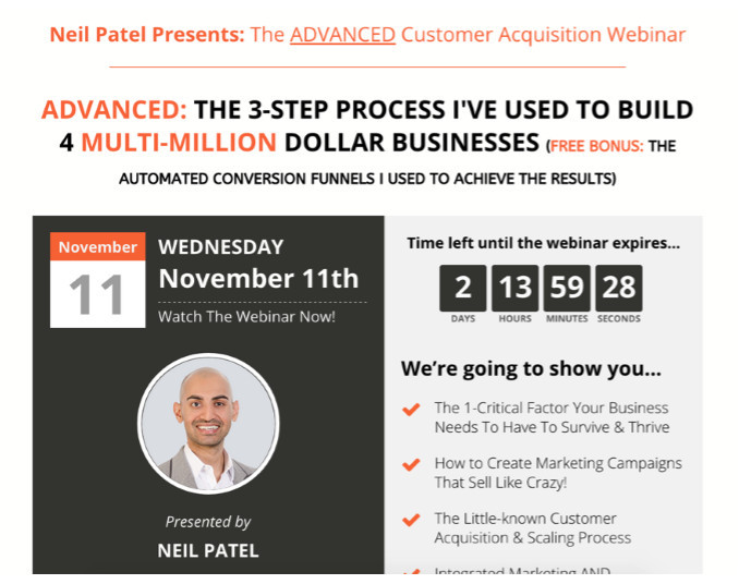 Neil Patel landing pages using Leadpages
