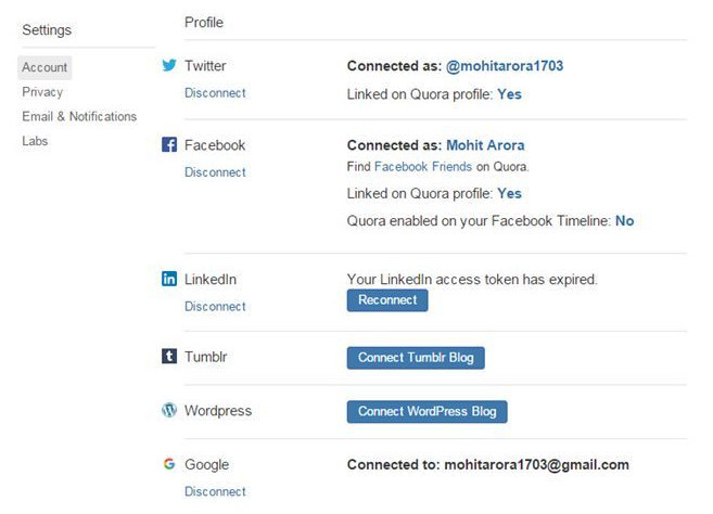 Connected social handles for Quora user, Mohit Arora