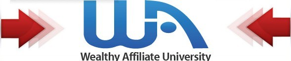 Wealthy Affiliate logo made up of lettrs WA and 2 red arrows pointing to it from left and right and under them Wealthy Affiliate university to signigy All About Wealthy Affiliate – Is It Real or a Scam?
