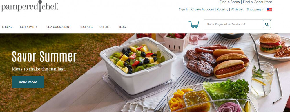Pampered chef products with words 'Savor summer'