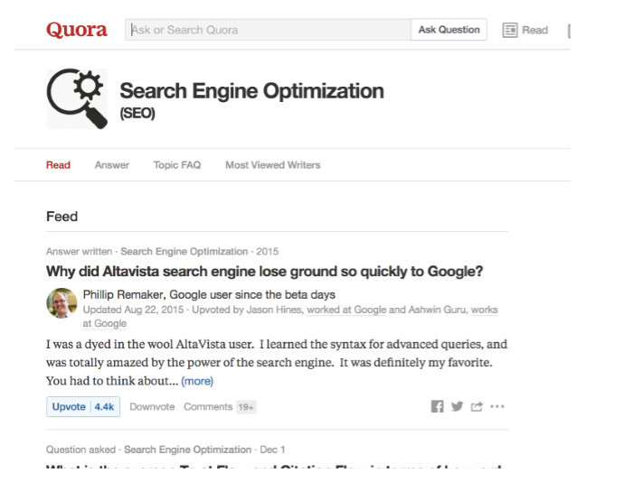 Finding popular questions and answers usually featured at top of feed on any selected topic