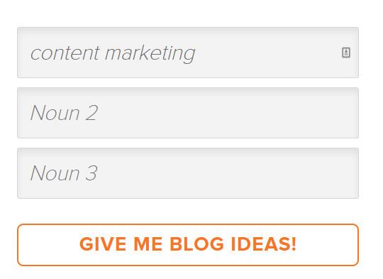 Hubspot's blog ideas generator Give Me Blog Ideas! button