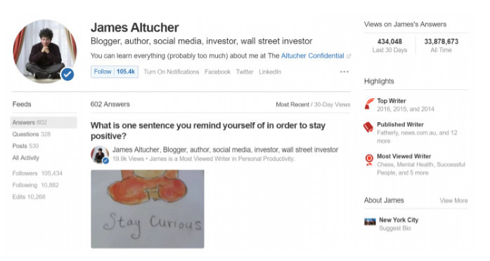 Quora example Bio of one of the most followed people on Quora, blogger James Altucher