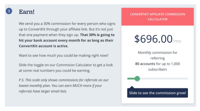 ConvertKit affiliate commission of $696