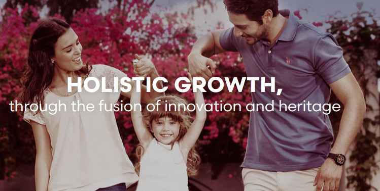 Fuxion holistic growth through the fusion of innovation and heritage showing a happy family of three