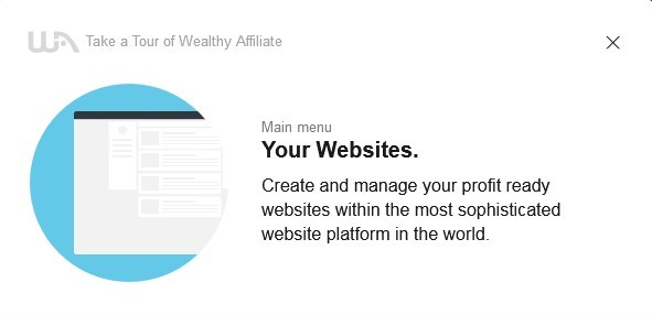 The 4th step of the 16-Step Tour of Wealthy Affiliate to Learn About the System: Your websites is where you can create and manage your own websites for profit.