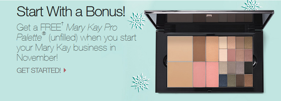 Mary Kay starter kit with words 'Start with a bonus' to signify Oriflame Cosmetics Products versus Mary Kay