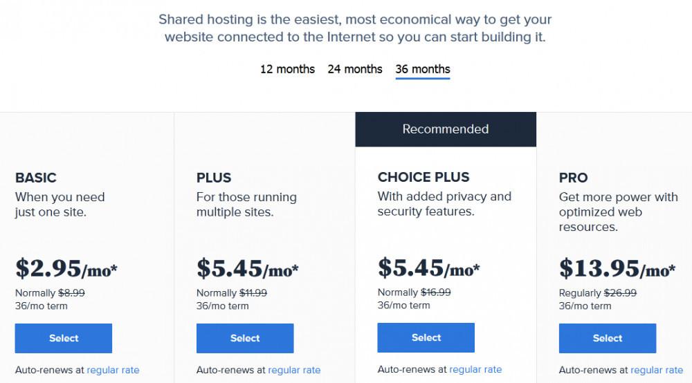 Bluehost shared hosting plans
