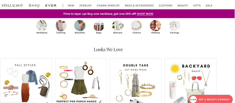 Stella & dot products showing necklaces, clothing, bag, skincare, charm, etc.
