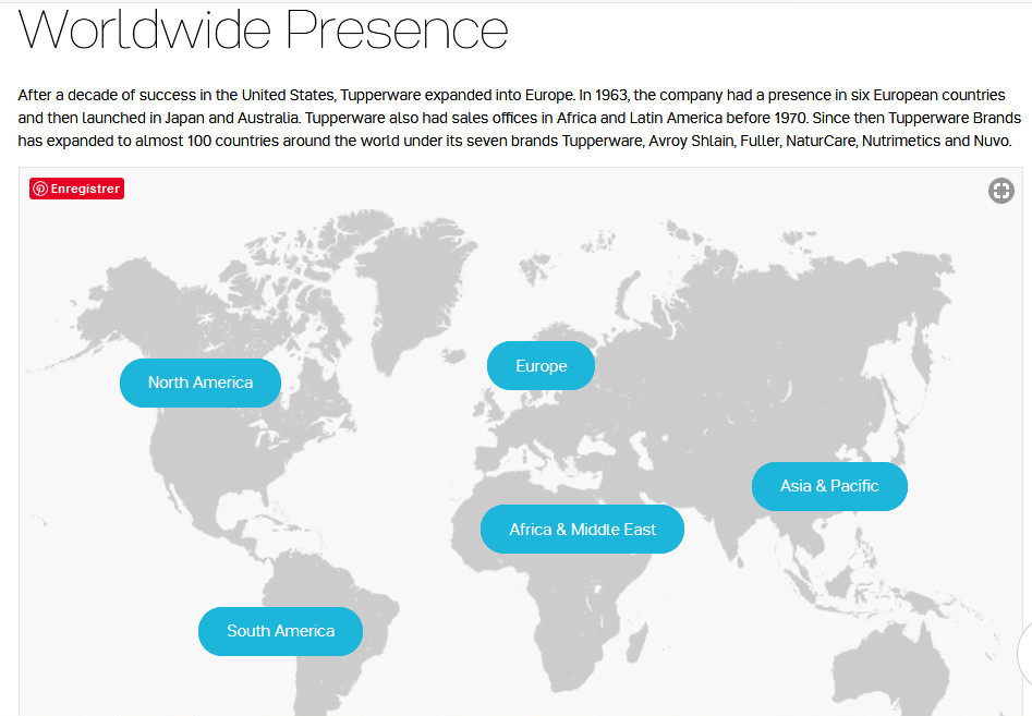 Mapof world showing the company's worldwidepresence with blue rectangles