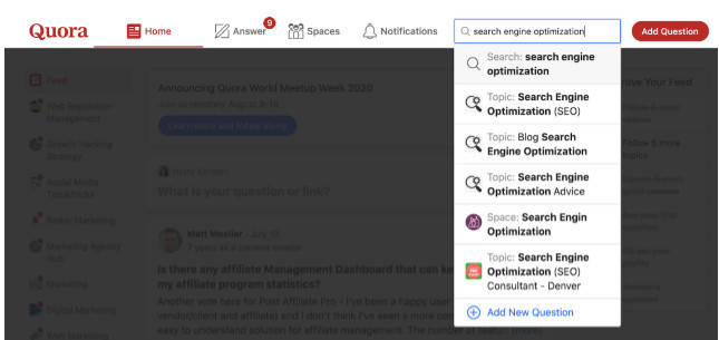 Finding Search Engine Optimization SEO topic inside a niche on Quora