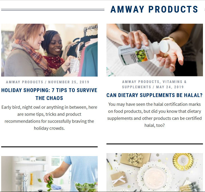 Amway products showing dietary supplements, etc.