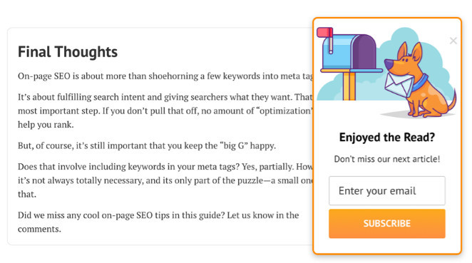 Ahrefs' display a slide-in box at the end of every article