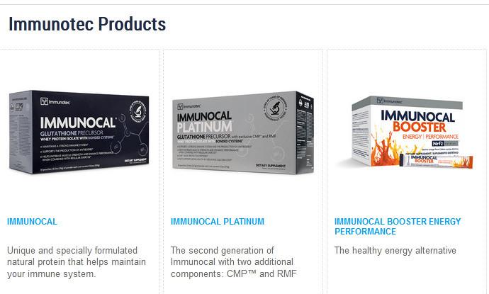 Immunotec products such as Immunocal, Imminocal platinum, and immunotec booster