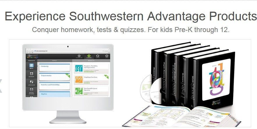 Sothwestern Advantage products as digital books on a desktop screen and physical books on a table