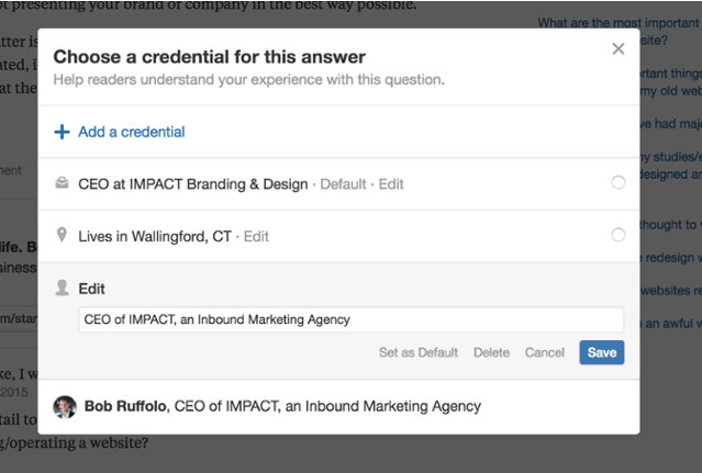 Quora set your credential as default to change your bio everywhere