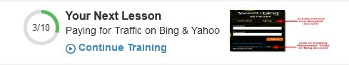 3/10 shwoing my next lesson: Payingfor Traffic on Bing & Yahoo