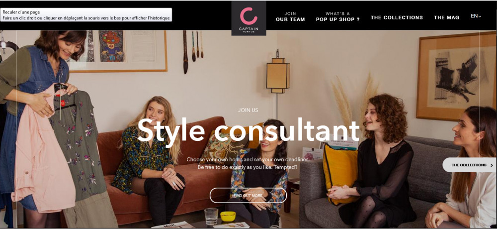 Captain Tortue's offical website homepage image with words 'Style consultant' with 5 women admiring clothing