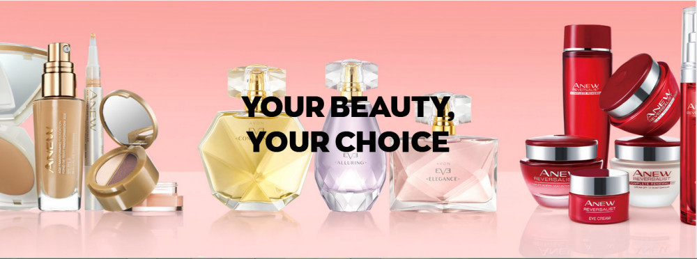 Photo of Avon products range with words 'Your beauty Your choice' to signify 19 mlm companies we reviewed but did not recommend