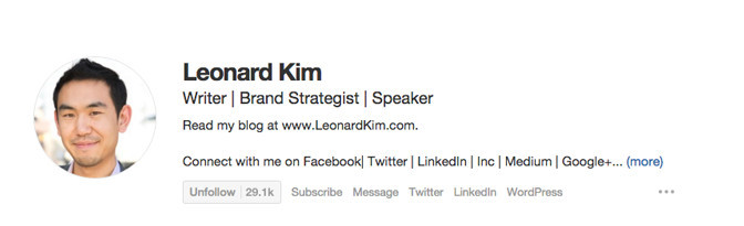 """Quora profile bio of Leonard Kim where he gives list of descriptive roles separated by a """"pipe"""" character"""