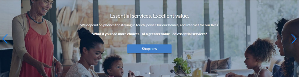 ACN official website showing women and childen over products with words 'Essential Services, Excellent value'