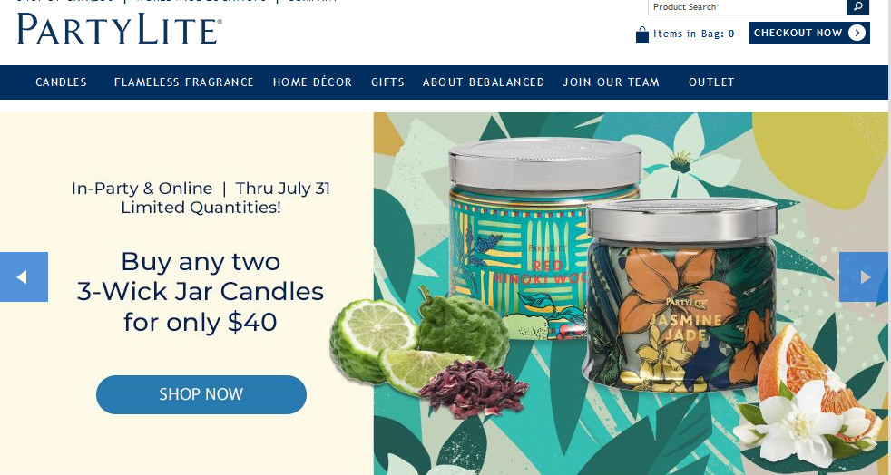 Partylite official website homepage with products , some fruits