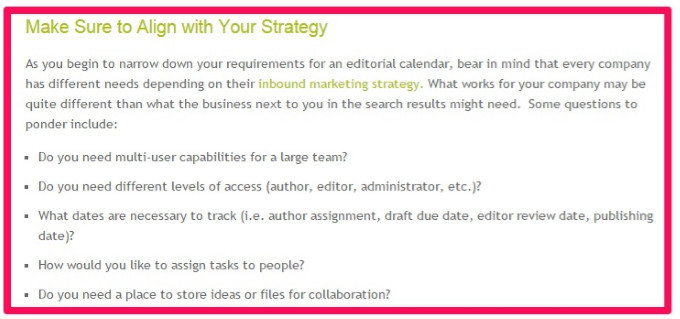 Questions to consider while creating editorial calendar