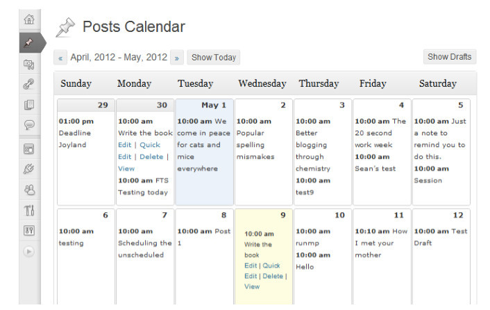 download a plugin on the dashboard to create your own editorial calendar.