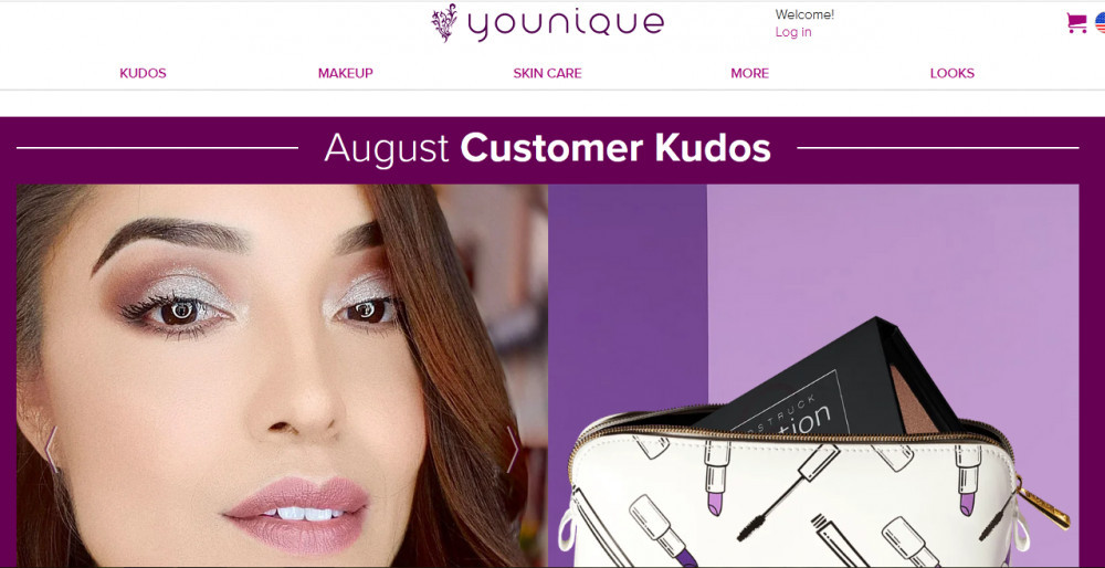 Younique official website homepage showing a smiling woman and a bag