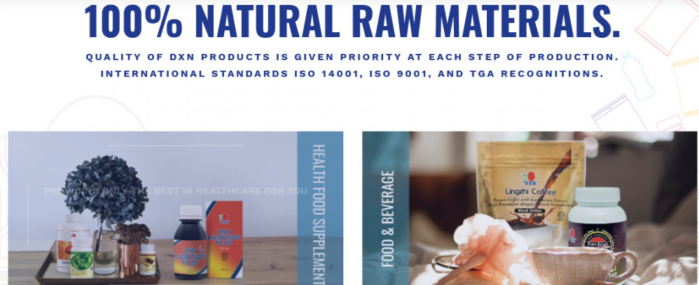 DXN prpducts with words '100% natural raw materials'