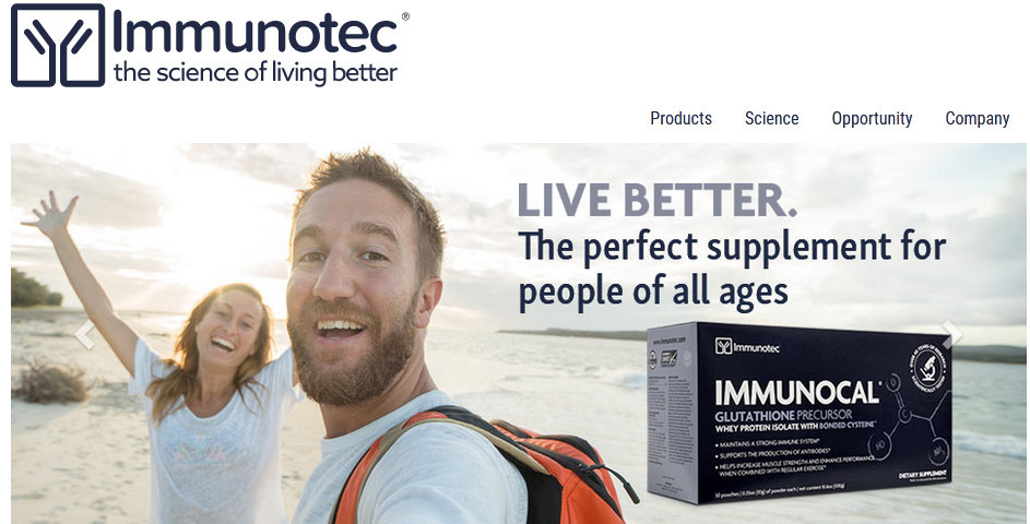 Immunotec offcial website homepage image of a smiling man and woman and words 'Live better. The perfect supplement for people of all ages.'