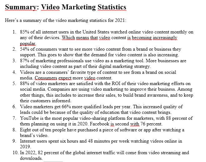 Summary: Video Marketing Statistics