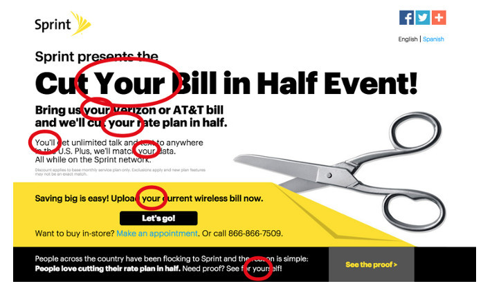 Sprint ad showing the good use of you and your in a blog postf you and your