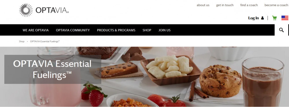 Optavia products showing Optavia essential fuelings