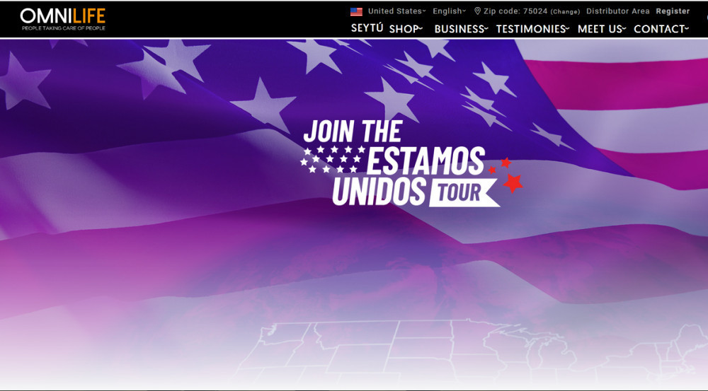 Flowing American flag with words 'Join the Estamos Unidos Tour to signify Omnilife of Mexico